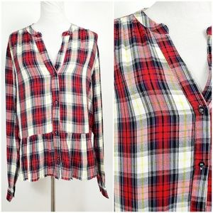 Splendid L Blouse Top Plaid Peplum Frayed Hem Red
